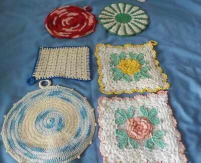 6 Vintage cotton assorted hand crochet decorative pot holders or hot pads