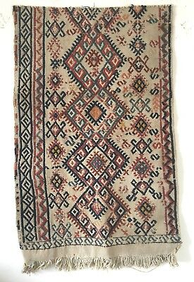 Beautiful Hand Woven 19th C. Turkish Woolen Kilim   (2489)