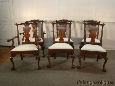 48188: Henkel Harris Solid Mahogany Set of 6 Chippendale Style Chairs