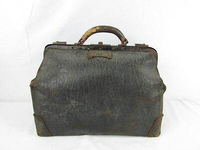 Vintage Antique Old Leather Doctor's Bag Luggage Well Aged Worn