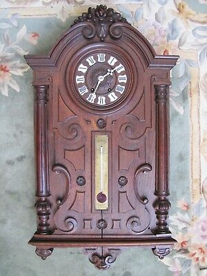 Rare Antique French Wooden Wall Clock w/ Thermometer & 6 Tune Musical Movement