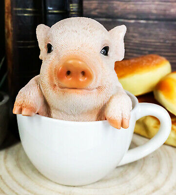 Adorable Babe Teacup Pig Figurine Realistic Animal Collectible Decor Statue