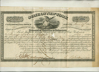 """1865 State Of New York """"payment Of Bounties To Volunteers""""  Cayuga County"""