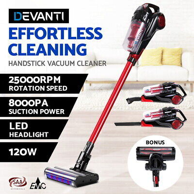 Devanti Stick Vacuum Cleaner Cordless Handheld Handstick Recharge LED Light 120W