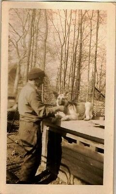 Old Vintage Antique Photograph Man Standing With German Shepherd Puppy Dog