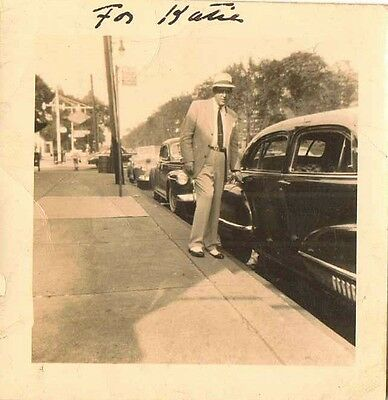 Wonderful Old Vintage Photograph Well Dressed Man Standing By Antique Car Auto