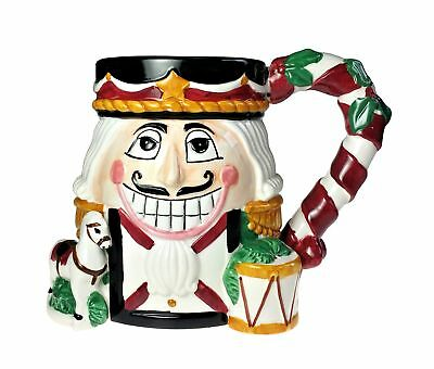 Tis The Season Nutcracker Christmas Holiday Ceramic Mug Hand Painted Cup CIC