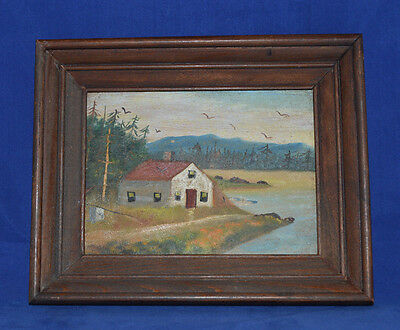 Folk Art Painting on Board - A Camp on Moosehead Lake, Maine - Fred E Cibbalt