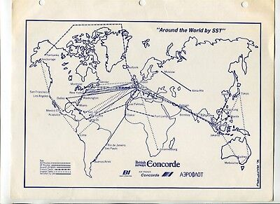 CONCORDE SST Airplane BRITISH AIRWAYS Route Map insert page 1979 w other airline