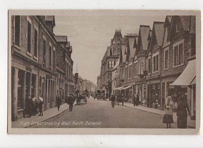 High Street Looking West North Berwick 1918 Postcard 132b