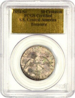1854-So Chile Silver 50 Centavos PCGS S.S. Central America - Chile