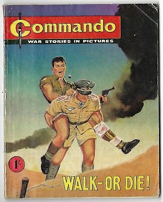 """1961. COMMANDO COMIC No.1. """"Walk - or Die"""". NUMBER ONE. Rarely Available."""