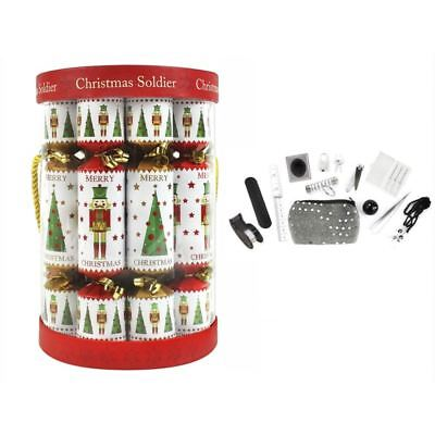 Pack Of 12 Christmas Soldier Christmas Crackers Nutcracker Festive Family Fun
