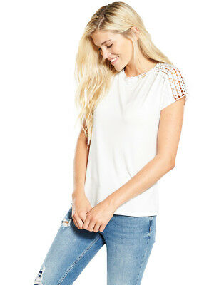 V by Very Cornelli Sleeve T-shirt in Ivory Size 18