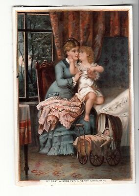 My Best Wishes for a Merry Christmas Mother Child Bed Doll Vict Card c1880s