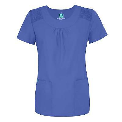 Adar Medical Women's Scoop Neck Smocked Solid Scrub Top - 627 FREE SHIPPING!
