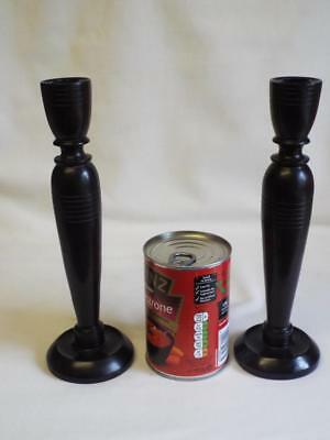 """Lovely antique pair of turned rosewood candlesticks,9.5""""-Georgian?"""