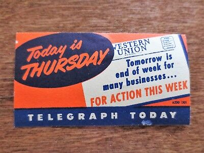 1940s Western Union Today Thursday Telegraph Today Action Ad Poster Sticker
