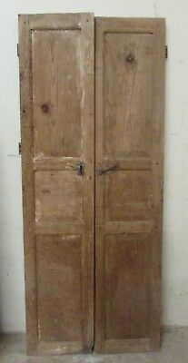 Antique Pair Mexican Old--Primitive-Rustic-35x87-Barn Door-Tall-Pine-Vintage