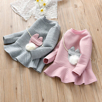 Chlid Kids Baby Girl Winter Striped Princess Sweatshirt Dress Clothes Outfits UK