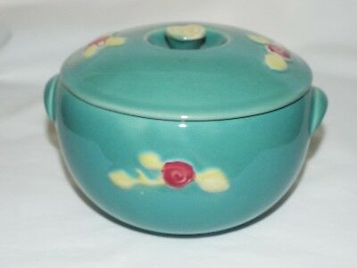 Rosebud COORS POTTERY USA teal Green 1 qt round casserole w/ lid circa 1930's