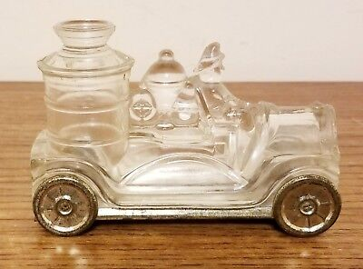 Antique Avor Clear Glass Fire Truck Engine Candy Container Tin Bottom & Wheels