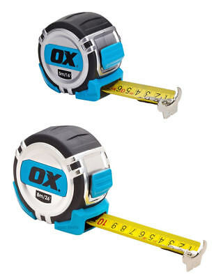 OX Tools PRO Soft Grip 5m/16ft Or 8m/26ft Metric & Imperial Tough Tape Measure