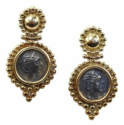 Antique 1960's Etruscan Style Estate 14k Gold Earrings With Ancient Roman Coins