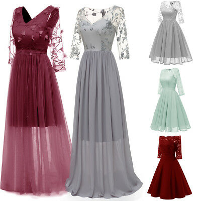 Women Formal Bridesmaid Wedding Long Evening Party Ball Gown Lace Long Dress