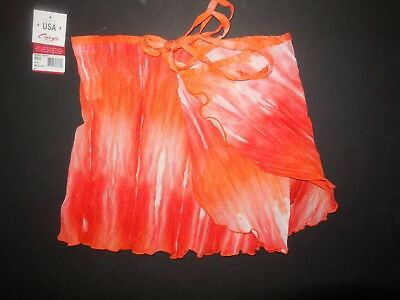 NWT Capezio mIcropleated orange cream wrap ballet skirt IM346 lettucedge tiedyed