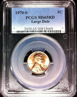 1970-S Lincoln Cent Large Date ~ Pcgs Ms 65 Red Ref#5