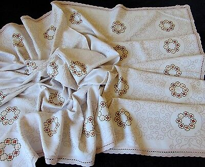 Vintage Immaculate Cotton Damask Hand Embroidered Lace Edge Tablecloth 160 X 130