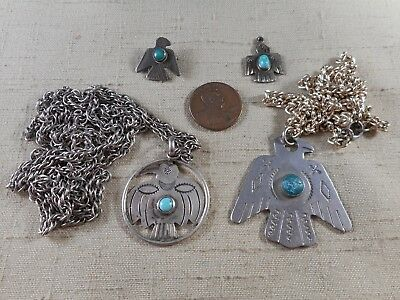 Collection of Navajo FRED HARVEY era turquoise jewelry with THUNDERBIRD designs