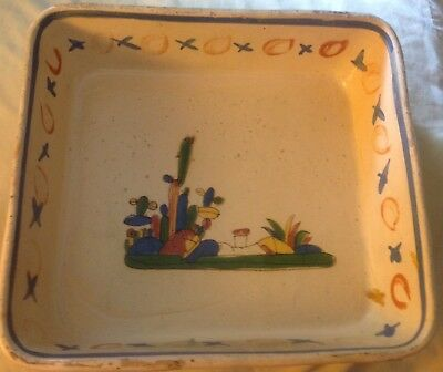 """vintage hand painted Old Mexico redware pottery rectangle Tlaquepaque tray 13"""" E"""