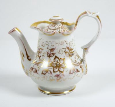 Antique Teapot Single Serve Personal Old Paris Gold Floral 6 oz Creamer