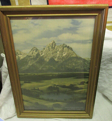 "Grand Teton National Park UNION PACFIC Railroad UPRR Framed Print 20""x 14"" Old"