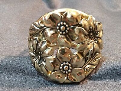 Vintage Chunky WHITING & DAVIS Signed Repousse Floral Wide Hinged Cuff Bracelet