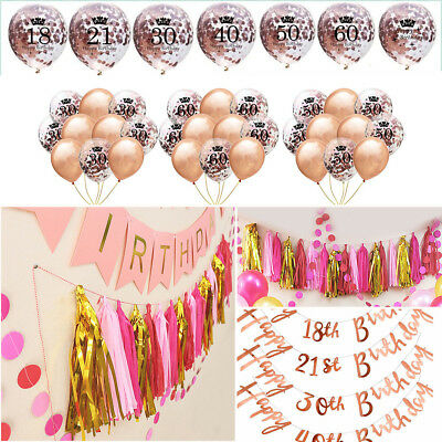 12'' Rose Gold Foil Confetti  Balloons Happy Birthday Bunting Banner Party Decor