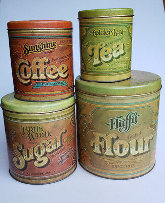 Ballonoff metal kitchen canisters old general store look Flour Sugar Tea Coffee