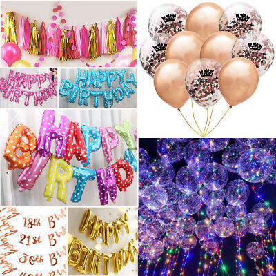 LED HAPPY BIRTHDAY Foil Confetti Balloon Banner Bunting Birthday Party Decor HOT