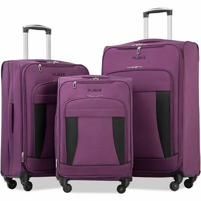Merax Flieks 3 Piece Luggage Set Expandable Spinner  Carry on Fabric Suitcase