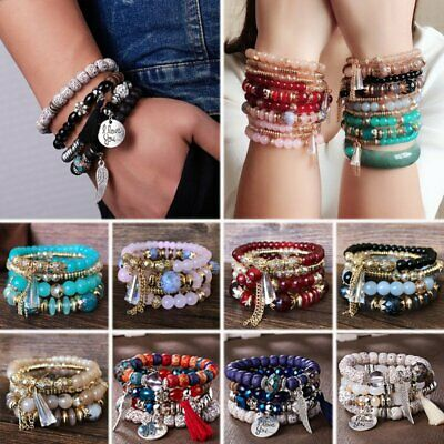 Fashion Multilayer Beaded Bracelet Natural Stone Crystal Bangle Women Jewelry