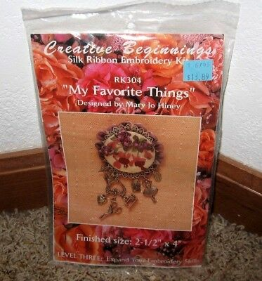 "Creative Beginnings~Silk Ribbon Embroidery~""my Favorite Things"" Kit #rk304~Nip"