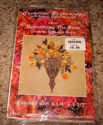 "Creative Beginnings~Silk Ribbon Embroidery""romancing The Rose"" Kit #rk303~Nip"