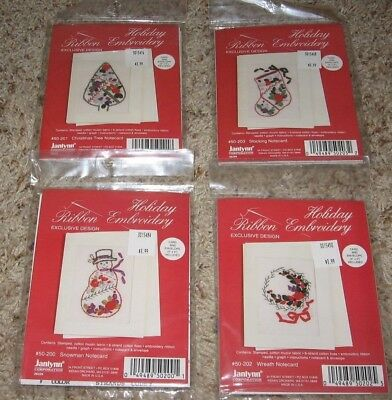 Lot Of 4 Janlynn Ribbon Embroidery Various Holiday Notecard Kits Nip