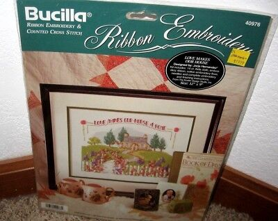 "Bucilla Ribbon Embroidery&Crossstitch~""Love Makes Our House A Home""~ #40976 Nip"