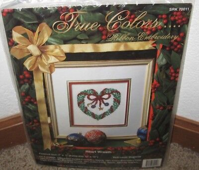 True Colors Ribbon Embroidery Heart Wreath Picture Kit #70011 Nip