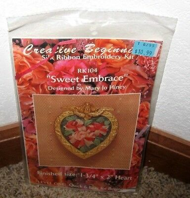 "Creative Beginnings~Silk Ribbon Embroidery""sweet Embrace"" Pin Kit #rk104~Nip"