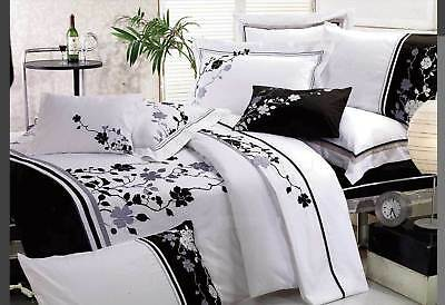 Queen /KING 3pc Quilt Cover Set / Embroidery design doona cover in Black white