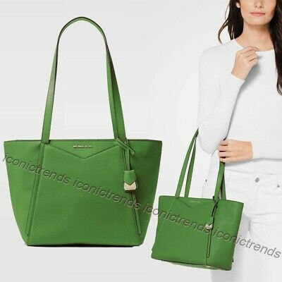 615dd069d827 NWT 🌴 Michael Kors Pebbled Leather Whitney Small Top Zip M Tote True Green  Gold